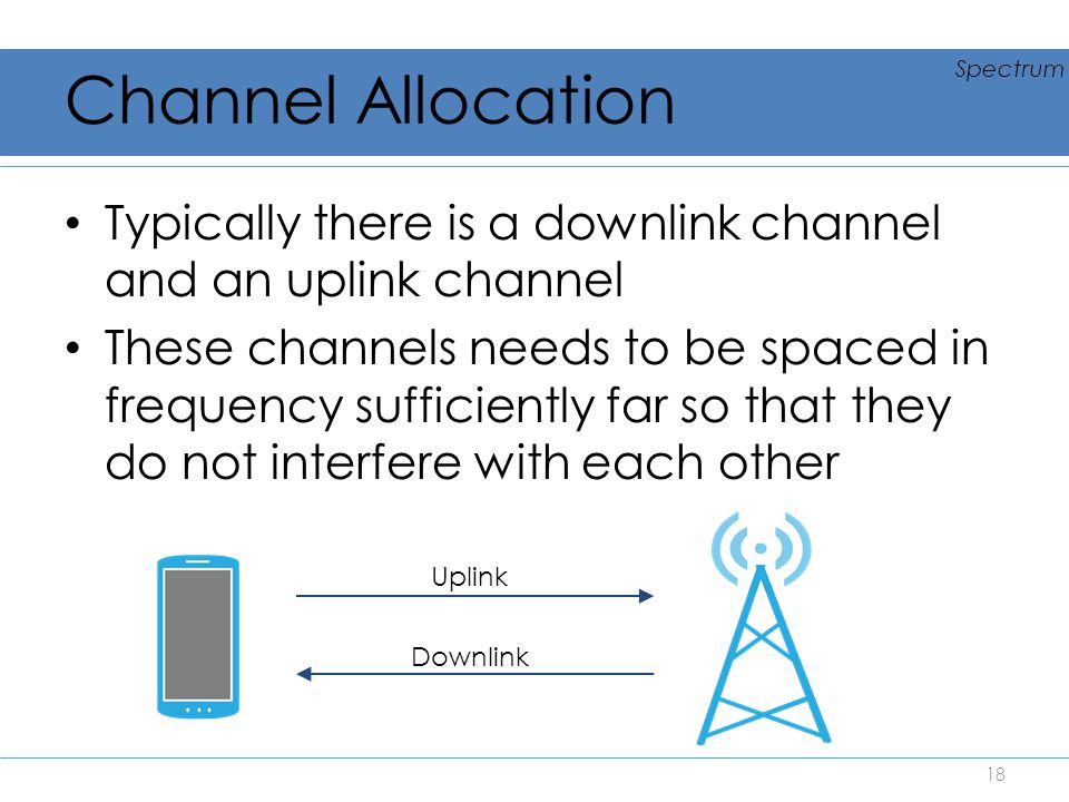 Channel Allocation Typically there is a downlink channel and an uplink channel These channels needs to be spaced in frequency sufficiently far so that
