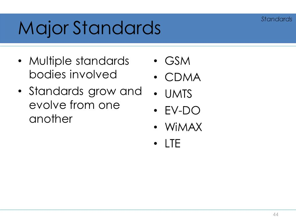 Major Standards Multiple standards bodies involved Standards grow and evolve from one another GSM CDMA UMTS EV-DO WiMAX LTE 44 Standards