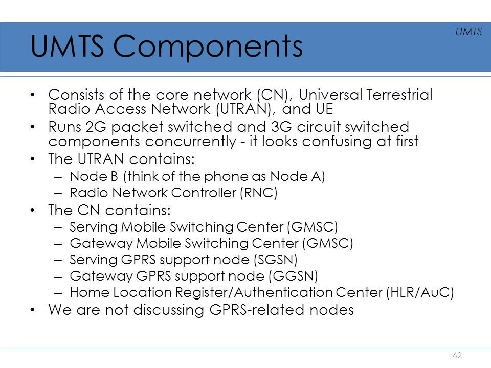 UMTS Components Consists of the core network (CN), Universal Terrestrial Radio Access Network (UTRAN), and UE Runs 2G packet switched and 3G circuit s
