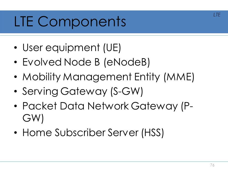 LTE Components User equipment (UE) Evolved Node B (eNodeB) Mobility Management Entity (MME) Serving Gateway (S-GW) Packet Data Network Gateway (P- GW)