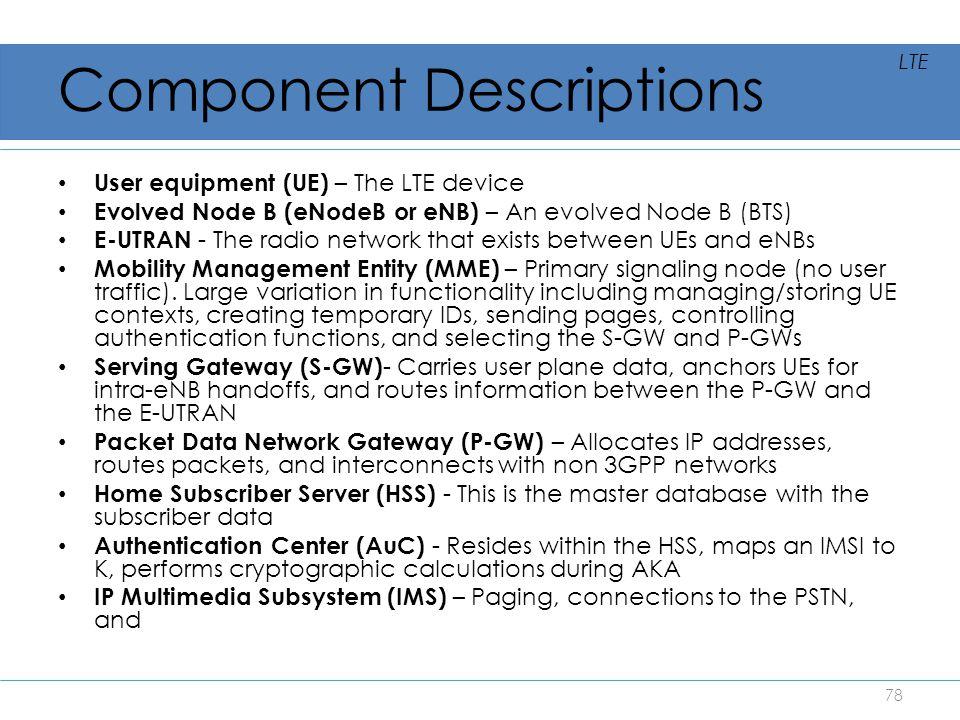 Component Descriptions User equipment (UE) – The LTE device Evolved Node B (eNodeB or eNB) – An evolved Node B (BTS) E-UTRAN - The radio network that