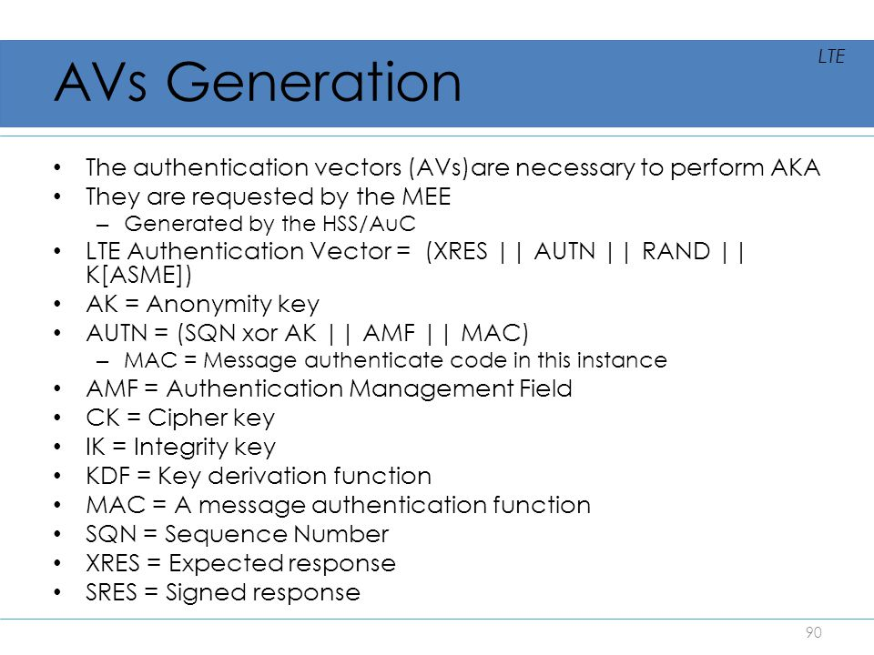 AVs Generation The authentication vectors (AVs)are necessary to perform AKA They are requested by the MEE – Generated by the HSS/AuC LTE Authenticatio