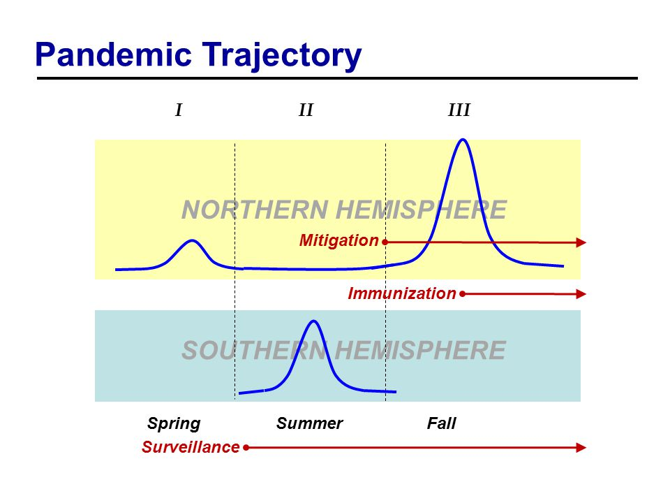 Pandemic Trajectory SOUTHERN HEMISPHERE NORTHERN HEMISPHERE I II III Surveillance Mitigation Immunization SpringSummerFall