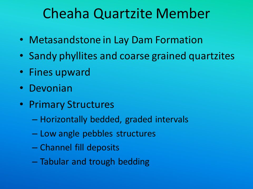 Cheaha Quartzite Member Metasandstone in Lay Dam Formation Sandy phyllites and coarse grained quartzites Fines upward Devonian Primary Structures – Ho