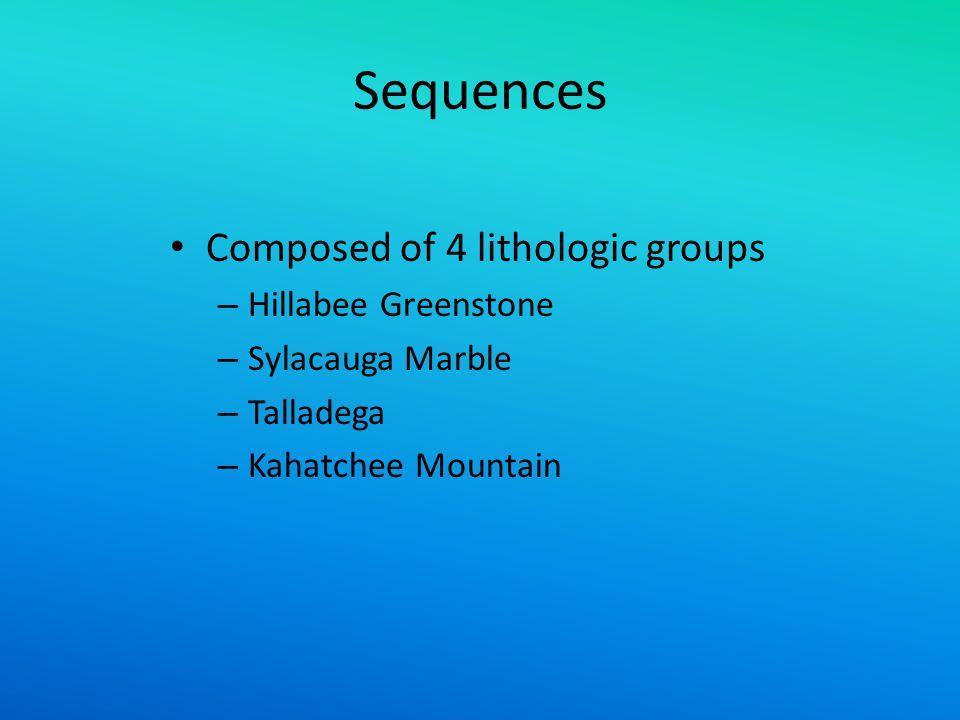 Sequences Composed of 4 lithologic groups – Hillabee Greenstone – Sylacauga Marble – Talladega – Kahatchee Mountain