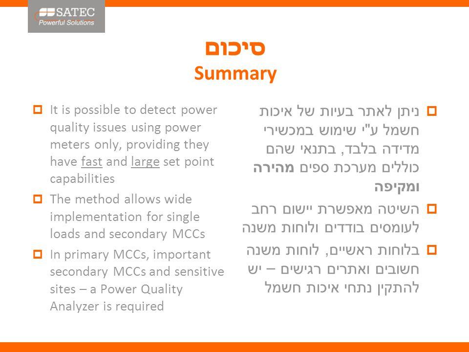 סיכום Summary  ניתן לאתר בעיות של איכות חשמל ע