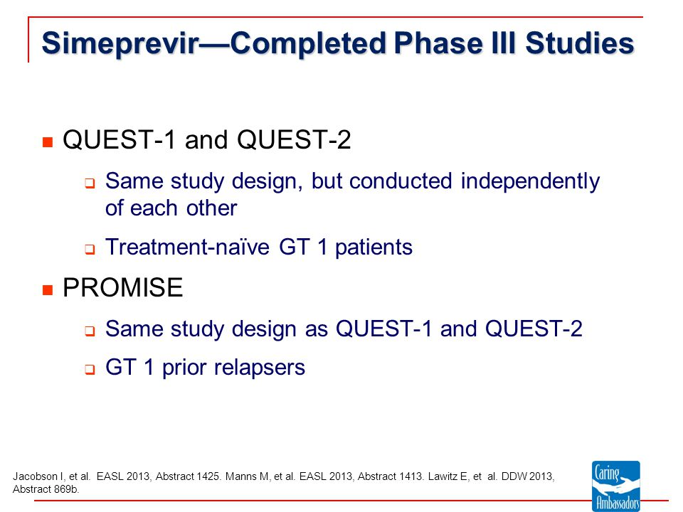 Simeprevir—Completed Phase III Studies QUEST-1 and QUEST-2  Same study design, but conducted independently of each other  Treatment-naïve GT 1 patients PROMISE  Same study design as QUEST-1 and QUEST-2  GT 1 prior relapsers Jacobson I, et al.