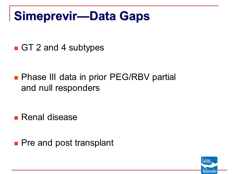 Simeprevir—Data Gaps GT 2 and 4 subtypes Phase III data in prior PEG/RBV partial and null responders Renal disease Pre and post transplant