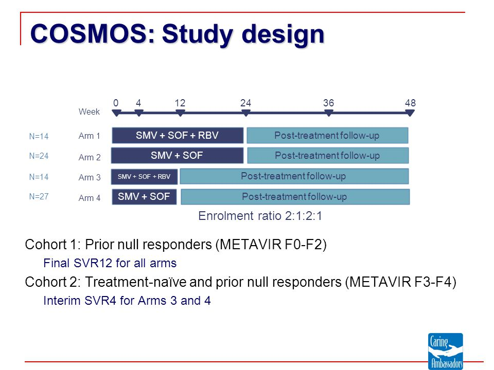 COSMOS: Study design Cohort 1: Prior null responders (METAVIR F0-F2) Final SVR12 for all arms Cohort 2: Treatment-naïve and prior null responders (METAVIR F3-F4) Interim SVR4 for Arms 3 and 4 SMV + SOF + RBVPost-treatment follow-up 0412243648 Arm 1 Week SMV + SOF SMV + SOF + RBV SMV + SOF Post-treatment follow-up Arm 2 Arm 3 Arm 4 Enrolment ratio 2:1:2:1 N=14 N=24 N=14 N=27