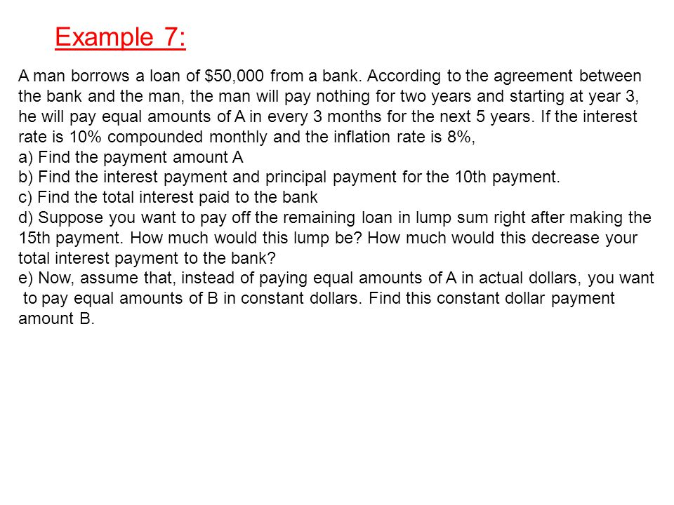 Example 7: A man borrows a loan of $50,000 from a bank.