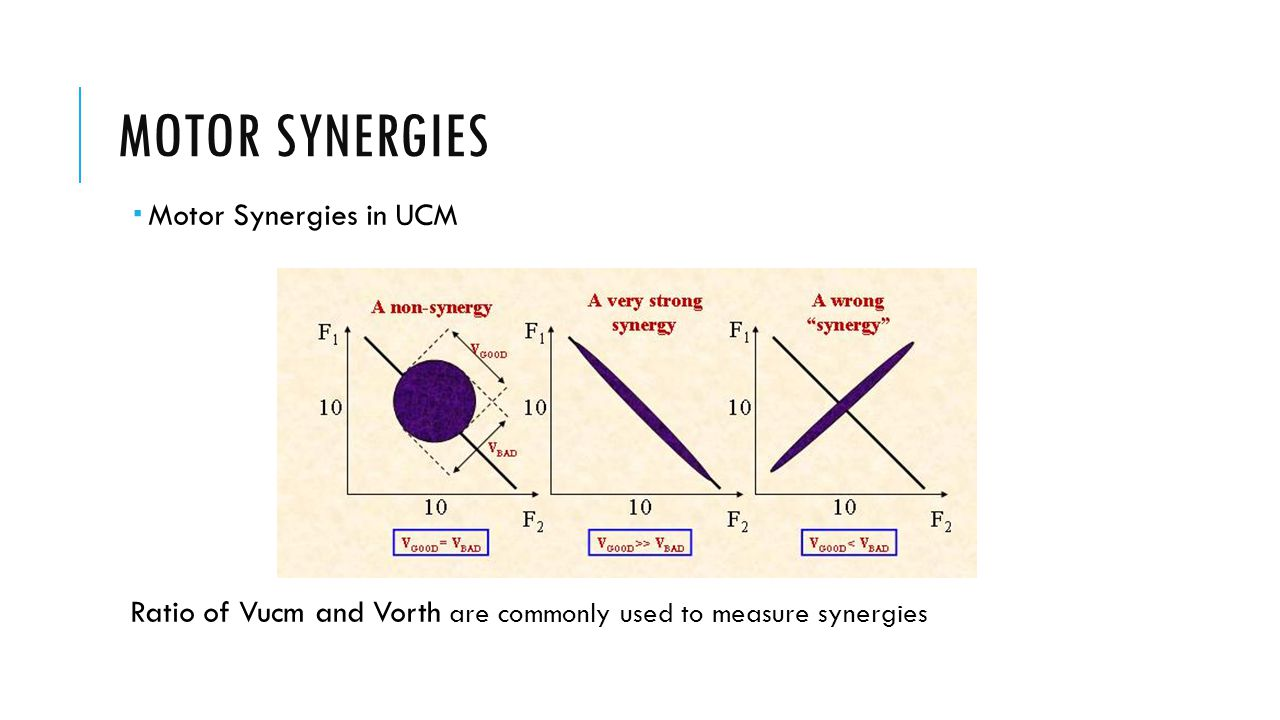 MOTOR SYNERGIES  Motor Synergies in UCM Ratio of Vucm and Vorth are commonly used to measure synergies
