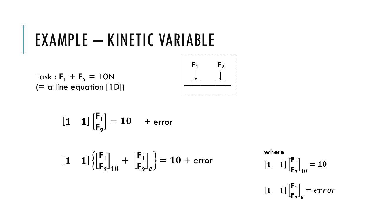 EXAMPLE – KINETIC VARIABLE F1 F2 10N V Good V Bad F 1 + F 2 = 10N