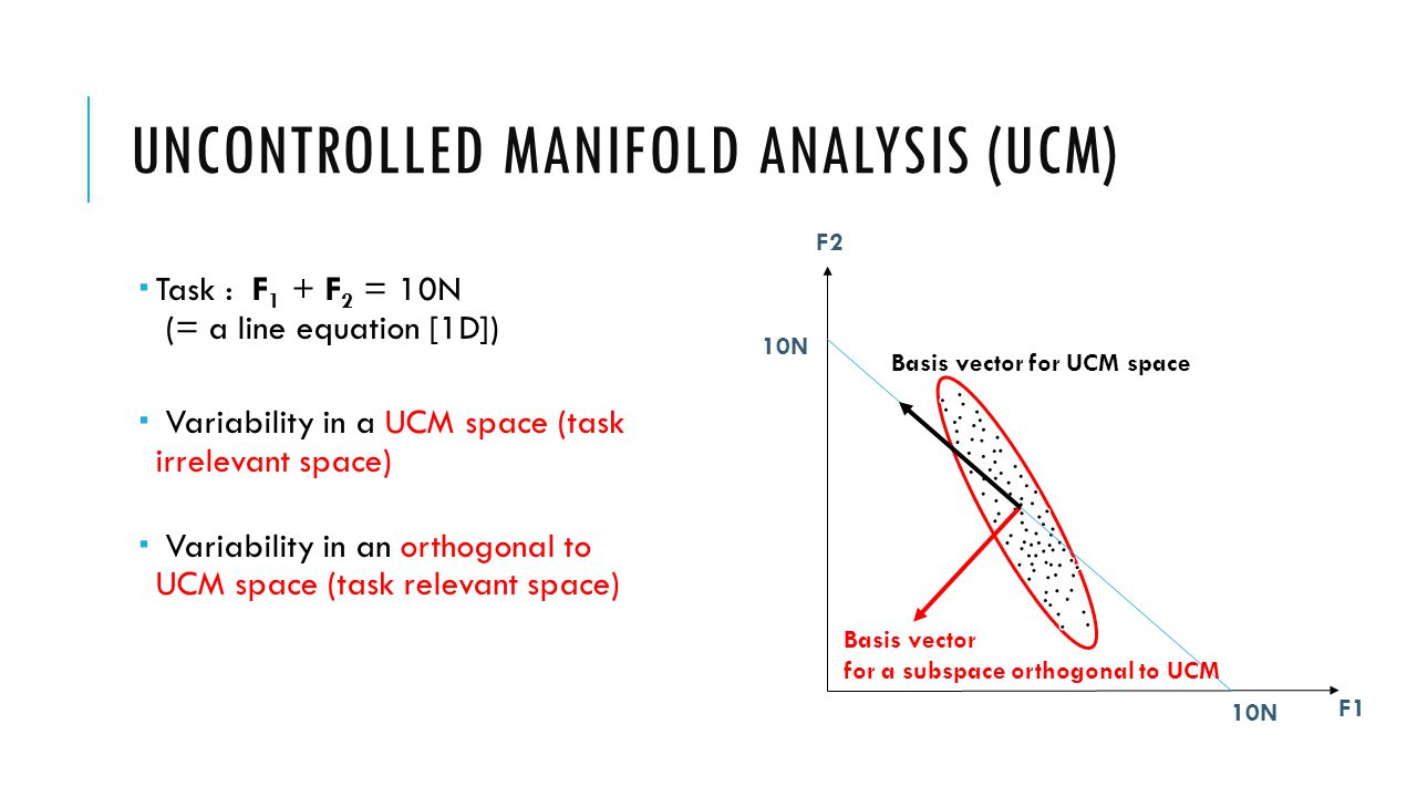UNCONTROLLED MANIFOLD ANALYSIS (UCM)  Task : F 1 + F 2 = 10N (= a line equation [1D])  Variability in a UCM space (task irrelevant space)  Variability in an orthogonal to UCM space (task relevant space) F1 F2 10N Basis vector for UCM space Basis vector for a subspace orthogonal to UCM