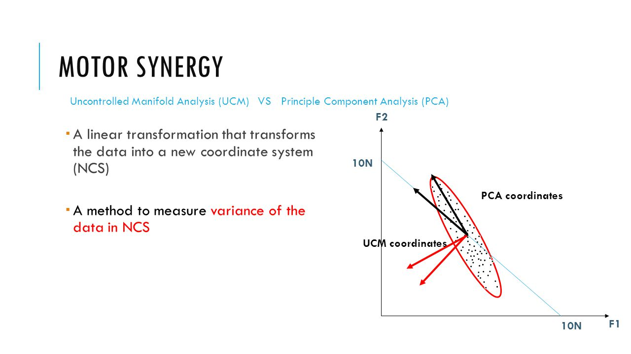 MOTOR SYNERGY  A linear transformation that transforms the data into a new coordinate system (NCS)  A method to measure variance of the data in NCS F1 F2 10N UCM coordinates PCA coordinates Uncontrolled Manifold Analysis (UCM) VS Principle Component Analysis (PCA)