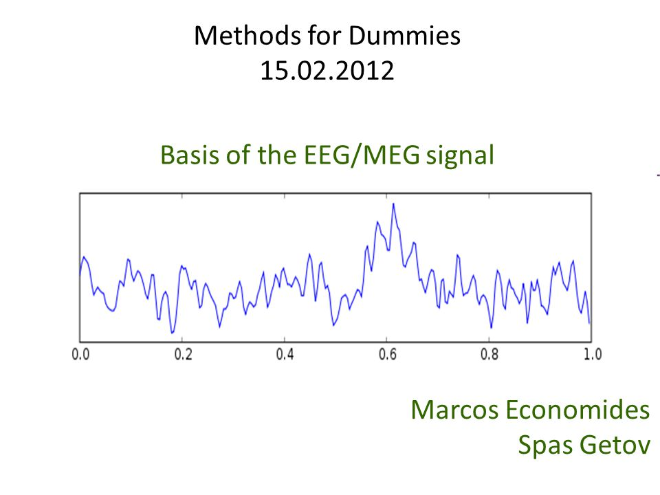 Methods for Dummies 15.02.2012 Marcos Economides Spas Getov Basis of the EEG/MEG signal