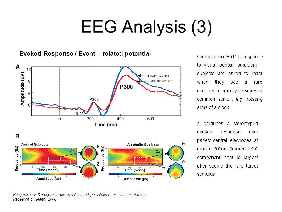 EEG Analysis (3) Evoked Response / Event – related potential Grand mean ERP in response to visual oddball paradigm – subjects are asked to react when they see a rare occurrence amongst a series of common stimuli, e.g.