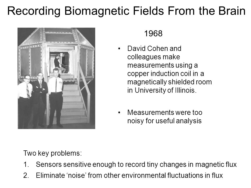 Recording Biomagnetic Fields From the Brain David Cohen and colleagues make measurements using a copper induction coil in a magnetically shielded room