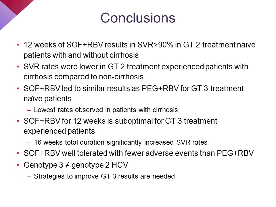 12 weeks of SOF+RBV results in SVR>90% in GT 2 treatment naive patients with and without cirrhosis SVR rates were lower in GT 2 treatment experienced