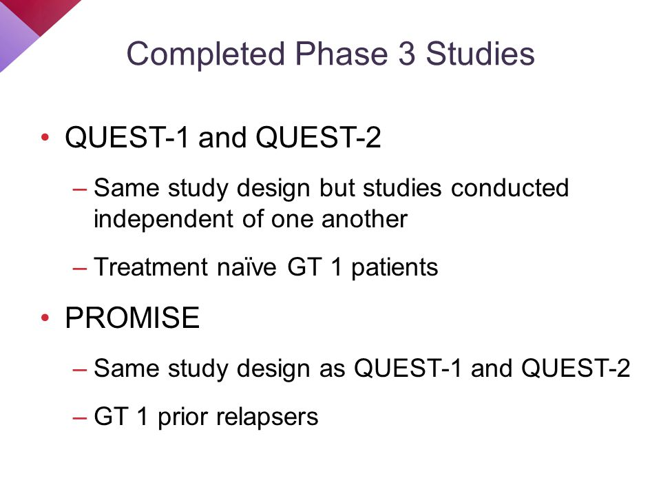 Completed Phase 3 Studies QUEST-1 and QUEST-2 –Same study design but studies conducted independent of one another –Treatment naïve GT 1 patients PROMI