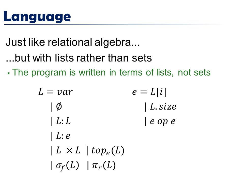 Language Just like relational algebra......but with lists rather than sets  The program is written in terms of lists, not sets