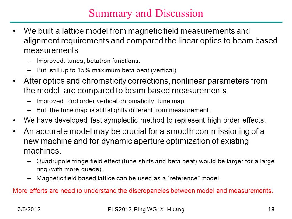 Summary and Discussion We built a lattice model from magnetic field measurements and alignment requirements and compared the linear optics to beam based measurements.