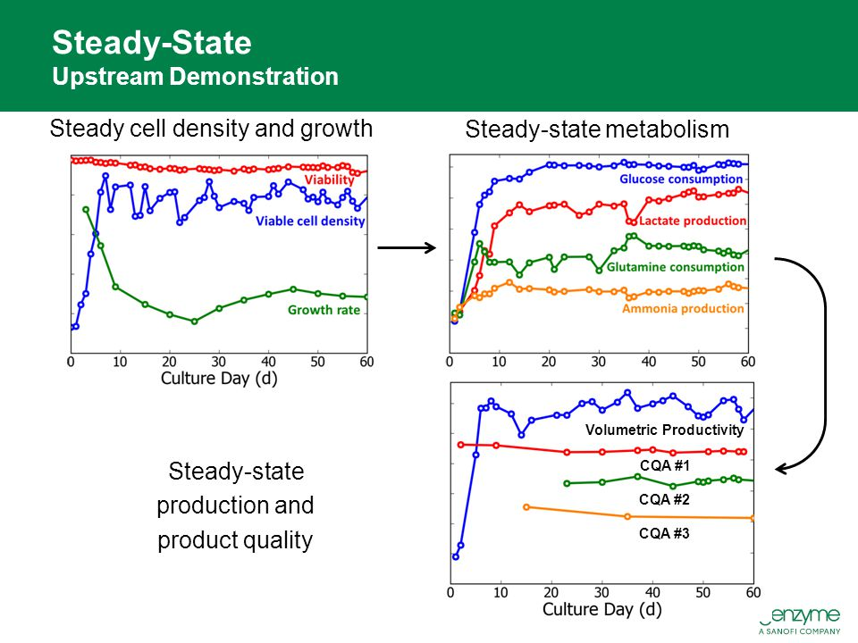 Steady cell density and growth Steady-State Upstream Demonstration Steady-state metabolism Steady-state production and product quality CQA #3 Volumetr