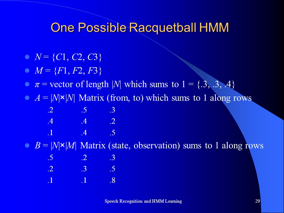 One Possible Racquetball HMM N = {C1, C2, C3} M = {F1, F2, F3} π = vector of length |N| which sums to 1 = {.3,.3,.4} A = |N|×|N| Matrix (from, to) whi