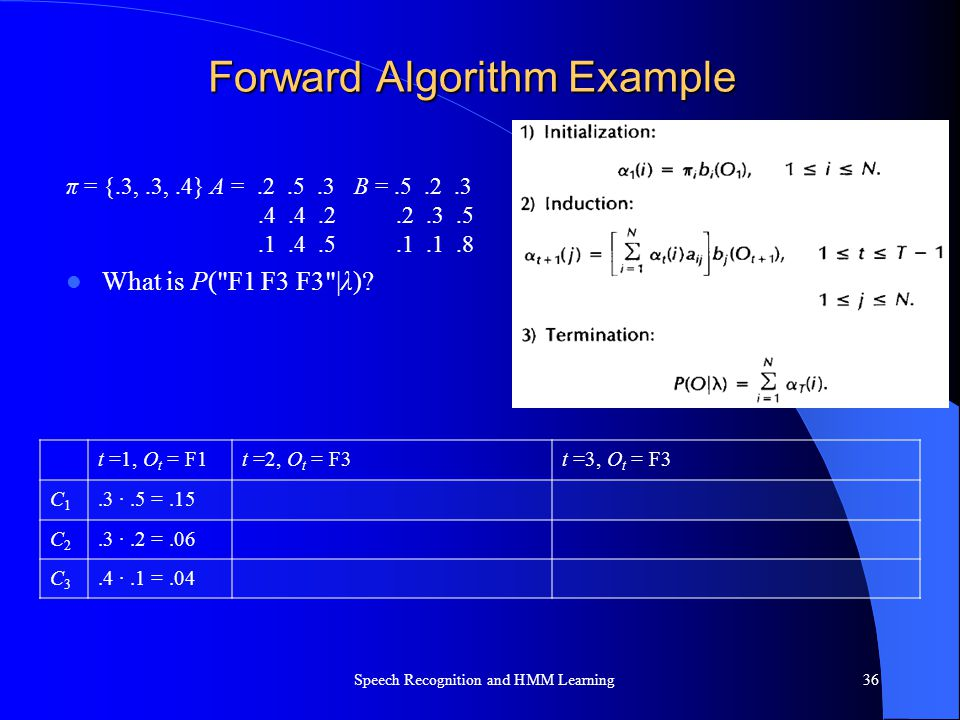 Forward Algorithm Example π = {.3,.3,.4} A =.2.5.3B =.5.2.3.4.4.2.2.3.5.1.4.5.1.1.8 What is P(