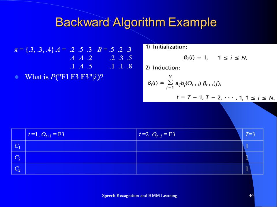 Backward Algorithm Example π = {.3,.3,.4} A =.2.5.3B =.5.2.3.4.4.2.2.3.5.1.4.5.1.1.8 What is P(