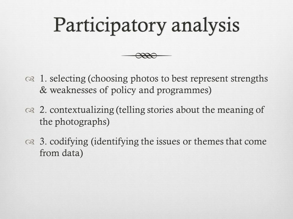 Participatory analysisParticipatory analysis  1.