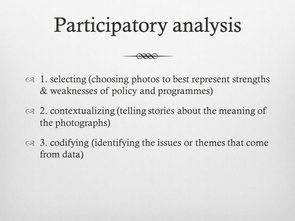 Participatory analysisParticipatory analysis  1.