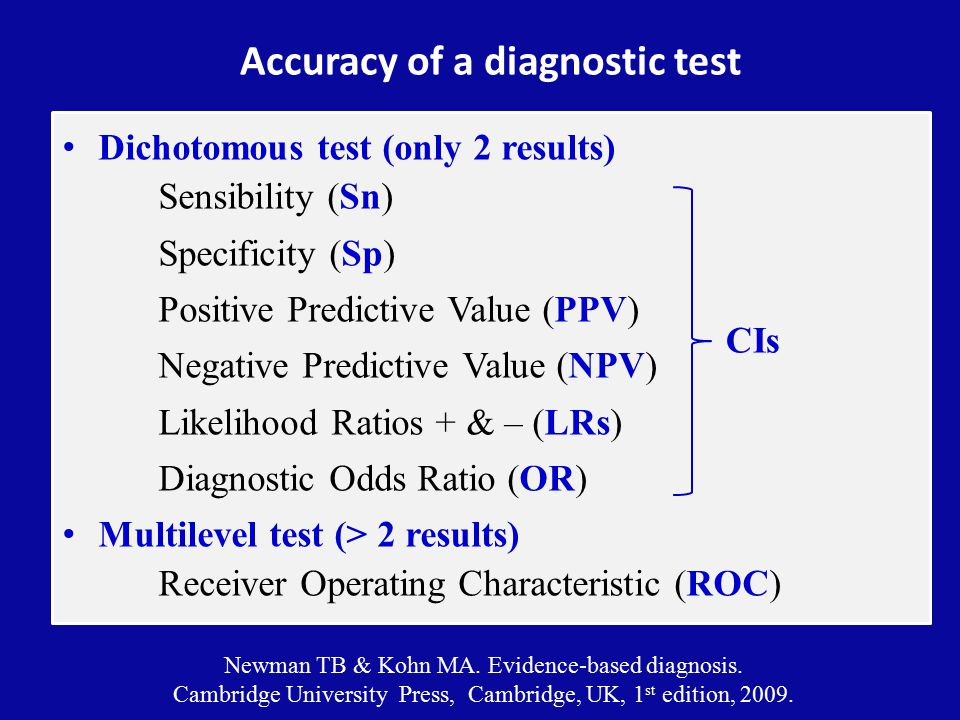 Accuracy of a diagnostic test Dichotomous test (only 2 results) Sensibility (Sn) Specificity (Sp) Positive Predictive Value (PPV) Negative Predictive Value (NPV) Likelihood Ratios + & – (LRs) Diagnostic Odds Ratio (OR) Multilevel test (> 2 results) Receiver Operating Characteristic (ROC) Newman TB & Kohn MA.