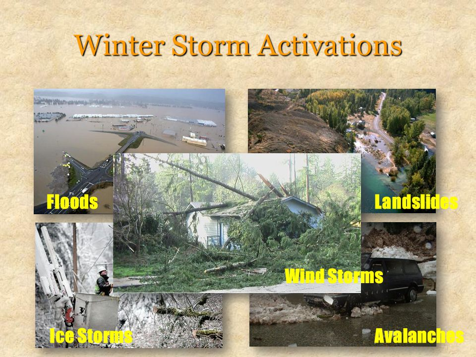 Winter Storm Activations Floods Landslides Avalanches Ice Storms Wind Storms