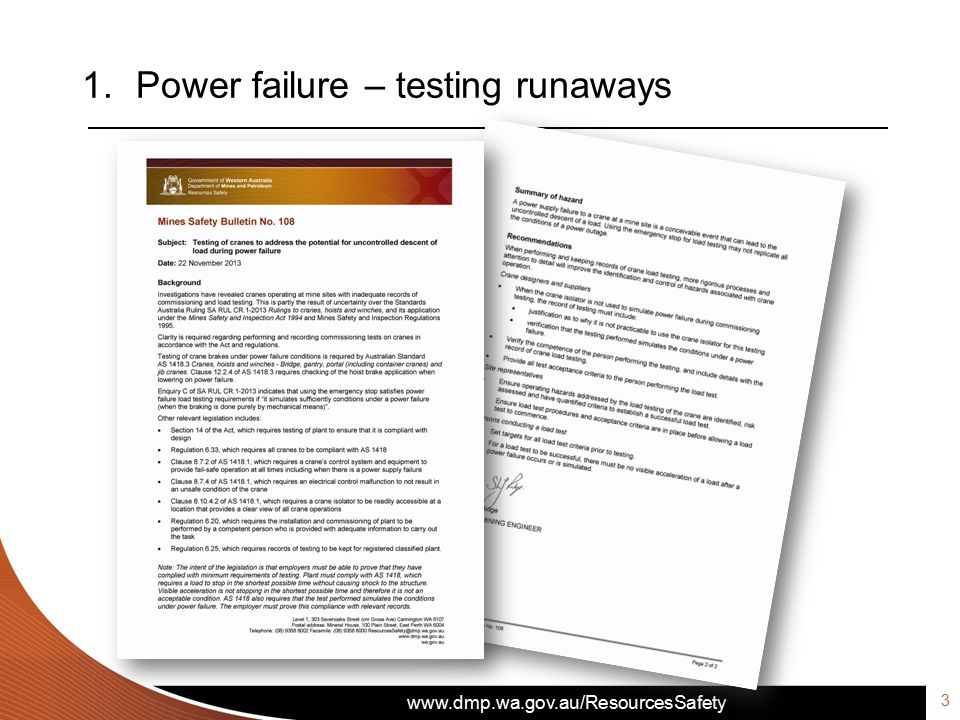 www.dmp.wa.gov.au/ResourcesSafety 1.Power failure – testing runaways 3