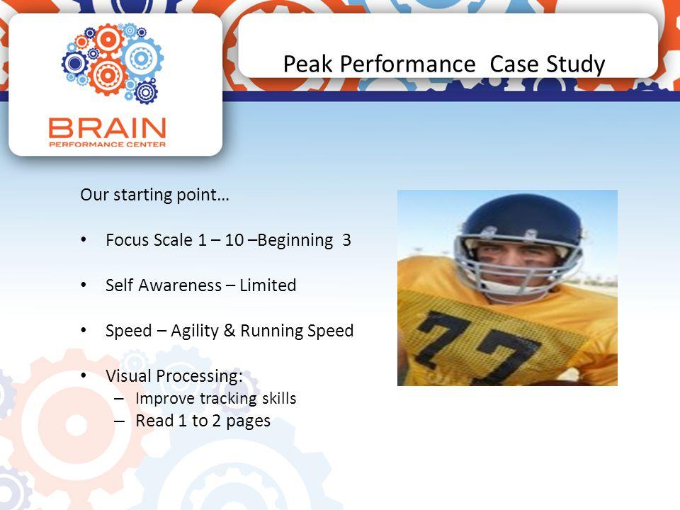 Peak Performance Case Study Neurofeedback Training Performance Based 40 minute sessions 20 min – F3 F4 20 min – C3 C4 Alternating Rewards Bop It