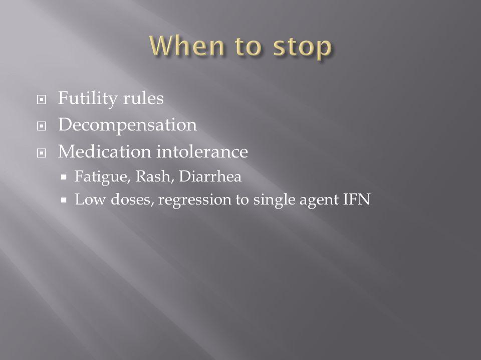  Futility rules  Decompensation  Medication intolerance  Fatigue, Rash, Diarrhea  Low doses, regression to single agent IFN