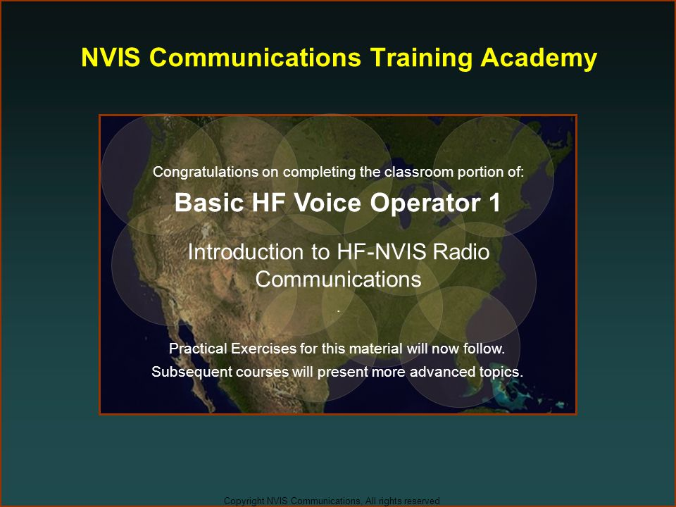 Copyright NVIS Communications, All rights reserved NVIS Communications Training Academy Congratulations on completing the classroom portion of: Basic