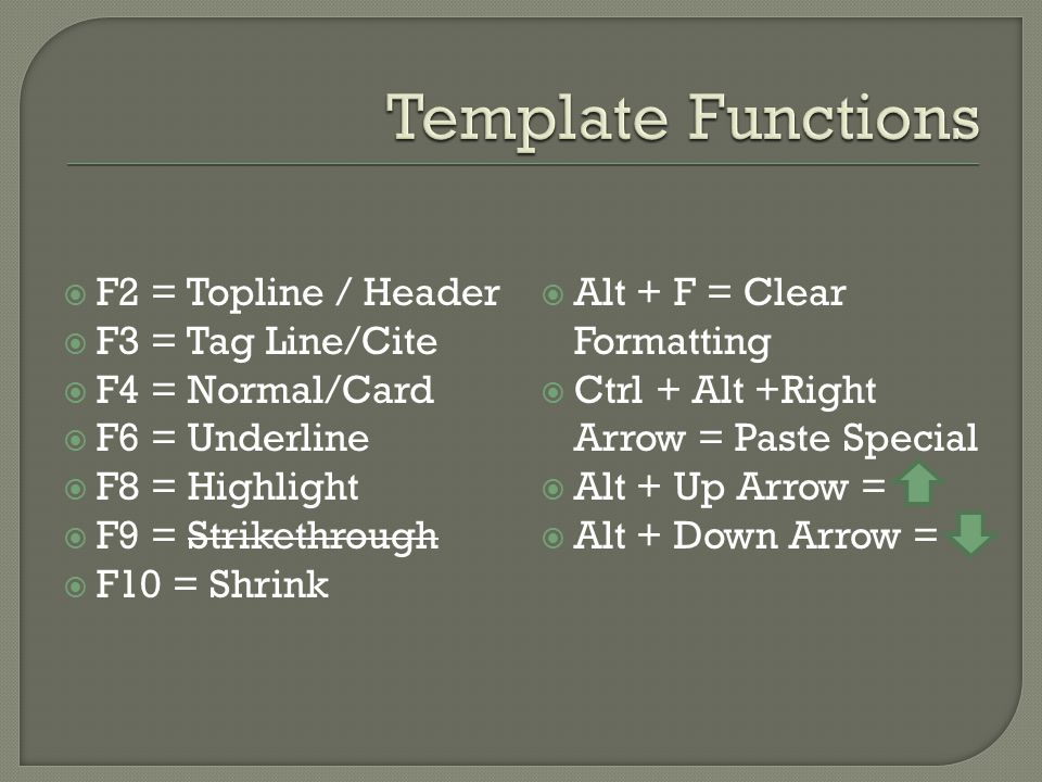  F2 = Topline / Header  F3 = Tag Line/Cite  F4 = Normal/Card  F6 = Underline  F8 = Highlight  F9 = Strikethrough  F10 = Shrink  Alt + F = Clea