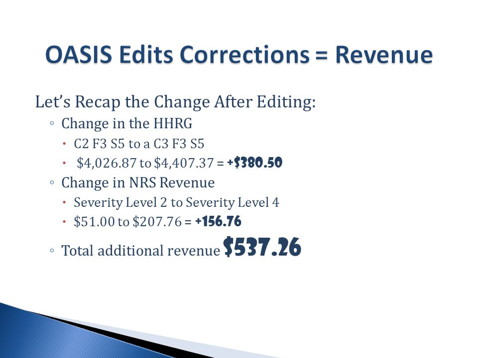 Let's Recap the Change After Editing: ◦ Change in the HHRG  C2 F3 S5 to a C3 F3 S5  $4,026.87 to $4,407.37 = +$380.50 ◦ Change in NRS Revenue  Severity Level 2 to Severity Level 4  $51.00 to $207.76 = +156.76 ◦ Total additional revenue $537.26