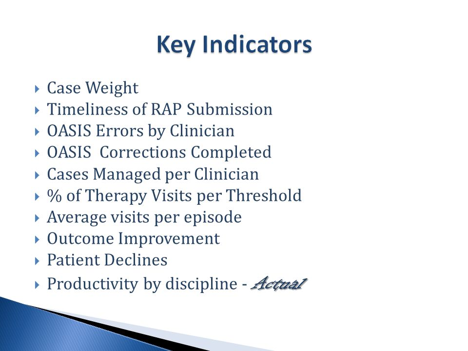  Case Weight  Timeliness of RAP Submission  OASIS Errors by Clinician  OASIS Corrections Completed  Cases Managed per Clinician  % of Therapy Visits per Threshold  Average visits per episode  Outcome Improvement  Patient Declines Actual  Productivity by discipline - Actual