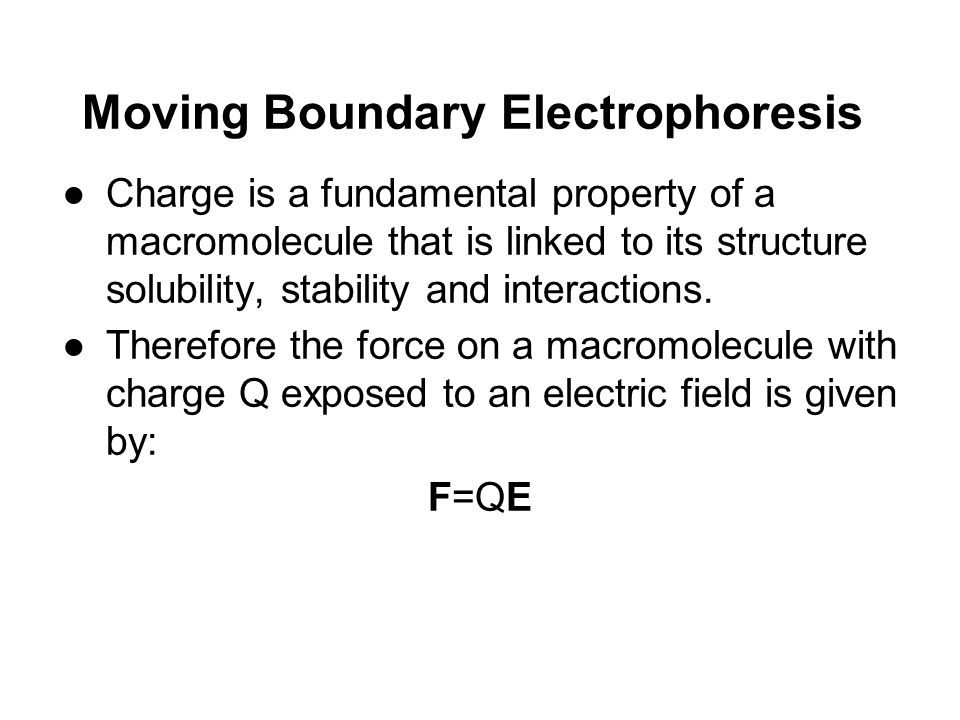 ●So shortly after the application of the electric field, the particle reaches a steady- state velocity u with the particle moving towards one of the electrodes.
