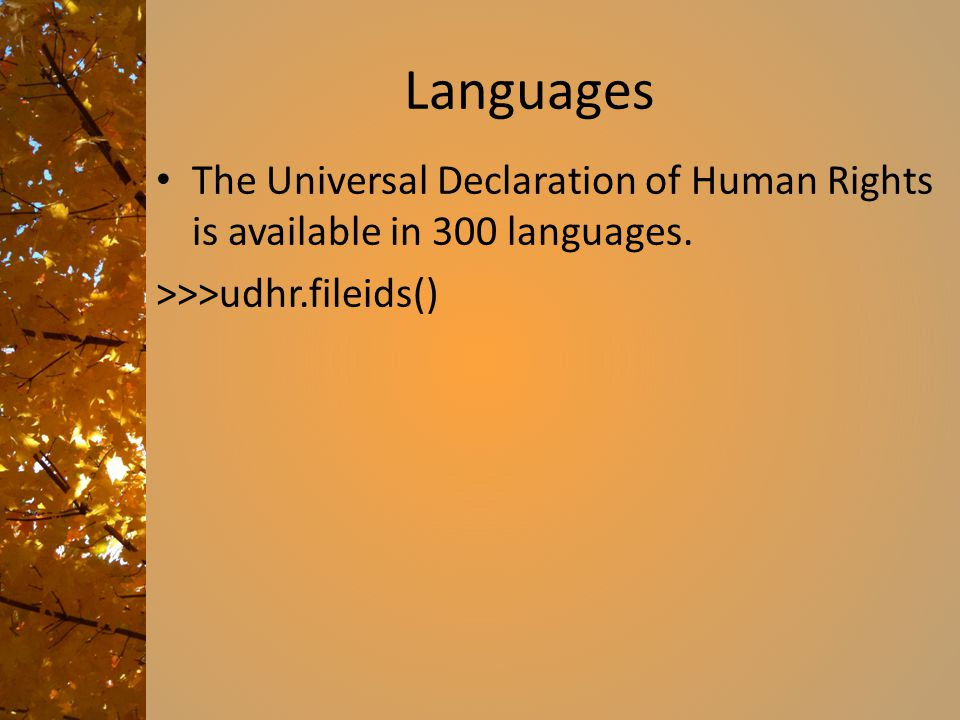 Languages The Universal Declaration of Human Rights is available in 300 languages.