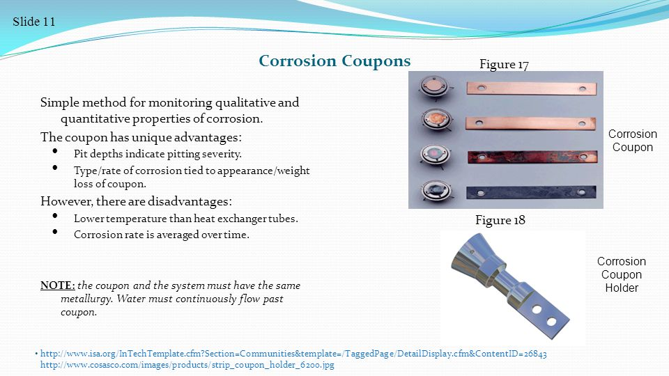 Corrosion Coupons Simple method for monitoring qualitative and quantitative properties of corrosion.