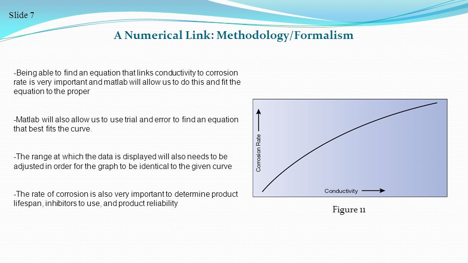 A Numerical Link: Methodology/Formalism -Being able to find an equation that links conductivity to corrosion rate is very important and matlab will allow us to do this and fit the equation to the proper -Matlab will also allow us to use trial and error to find an equation that best fits the curve.