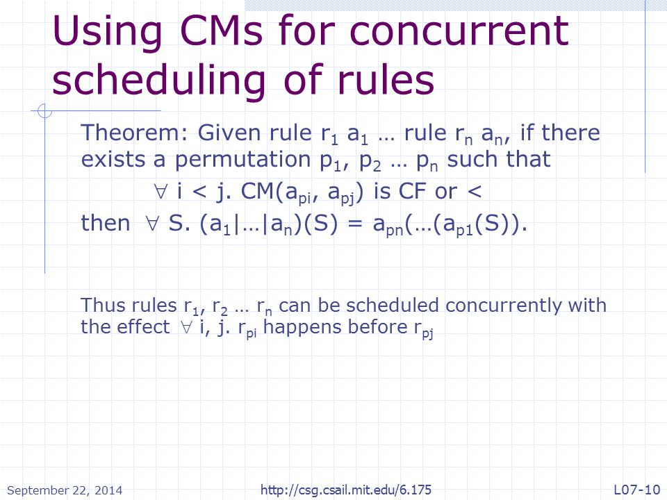 Using CMs for concurrent scheduling of rules Theorem: Given rule r 1 a 1 … rule r n a n, if there exists a permutation p 1, p 2 … p n such that  i < j.