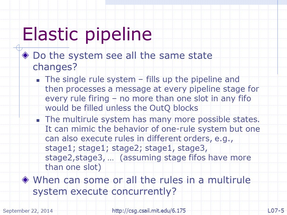 Elastic pipeline Do the system see all the same state changes.