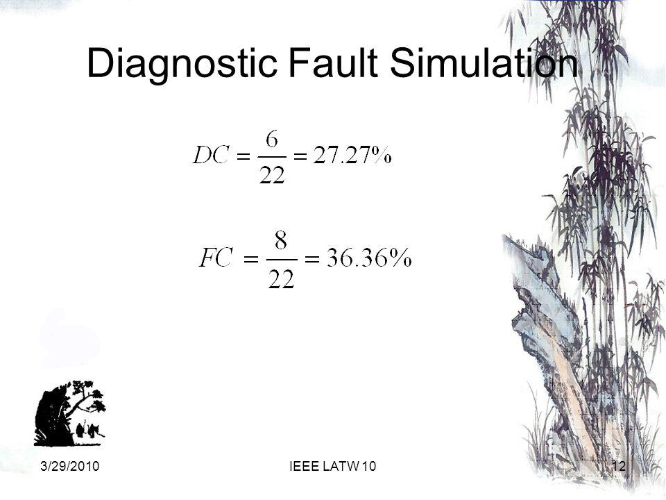 Diagnostic Fault Simulation 123/29/2010IEEE LATW 10