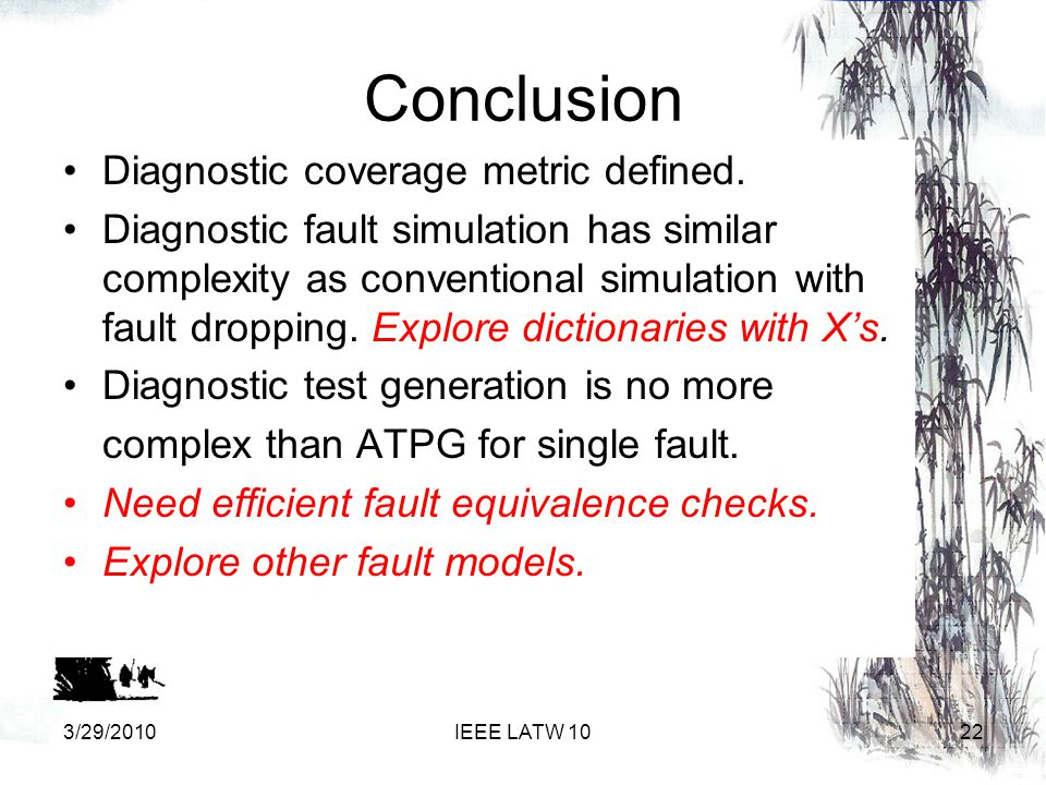 Conclusion Diagnostic coverage metric defined.