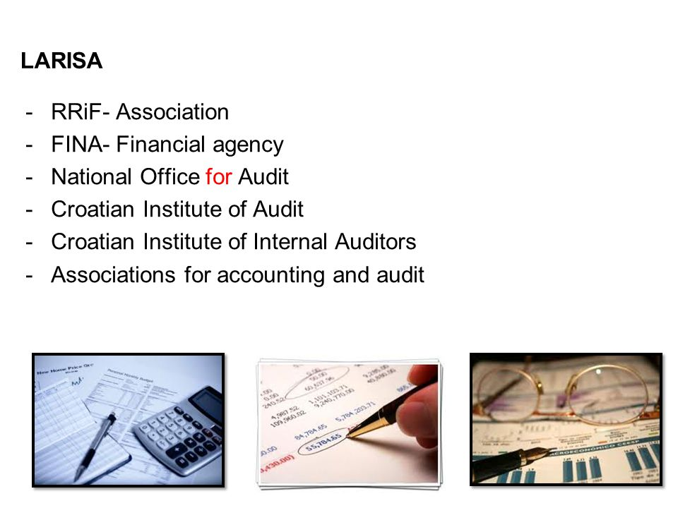 LARISA -RRiF- Association -FINA- Financial agency -National Office for Audit -Croatian Institute of Audit -Croatian Institute of Internal Auditors -Associations for accounting and audit