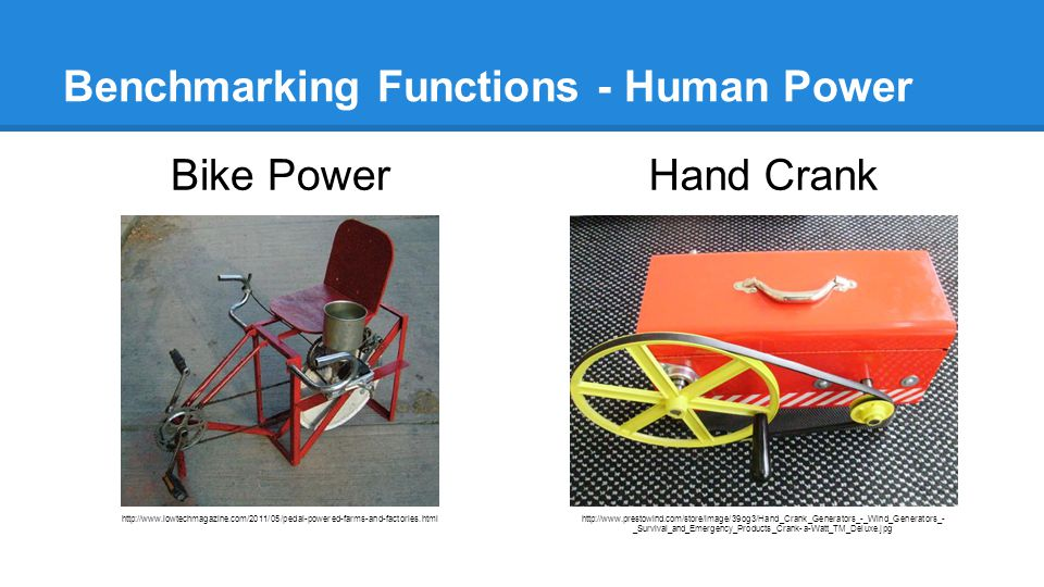 Benchmarking Functions - Human Power Bike Power http://www.lowtechmagazine.com/2011/05/pedal-powered-farms-and-factories.html Hand Crank http://www.prestowind.com/store/image/39og3/Hand_Crank_Generators_-_Wind_Generators_- _Survival_and_Emergency_Products_Crank-a-Watt_TM_Deluxe.jpg